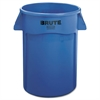 Brute Vented Trash Receptacle, Round, 44 gal, Blue