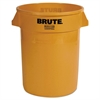 Round Brute Container, Plastic, 32 gal, Yellow