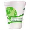 Vio Biodegradable Cups, Foam, 12 oz, White/Green, 1000/Carton