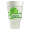 Vio Biodegradable Cups, Foam, 32 oz, White/Green