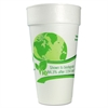 Vio Biodegradable Cups, Foam, 24 oz, White/Green, 300/Carton