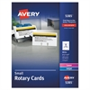 Small Rotary Cards, Laser/Inkjet, 2 1/6 x 4, 8 Cards/Sheet, 400 Cards/Box