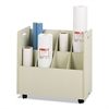 Laminate Mobile Roll Files, Eight Compartments, 30-1/8 x 15-3/4 x 29-1/4, Putty