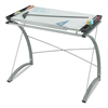 Xpressions Glass Top Drafting Table, 41w x 24d x 31 1/2 to 40h, Silver