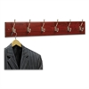 Wood Wall Rack, Six Double-Hook, 35-1/2w x 3-1/4d x 6-3/4h, Mahogany