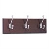 Wood Wall Rack, Three Double-Hooks, 18w x 3-1/4d x 6-3/4h, Mahogany