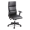 Tuvi Series Executive High-Back Chair, Leatherette Back/Seat, Black