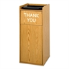 Push Door Waste Receptacle w/Tray Holder, Square, Wood, 36gal, Medium Oak