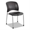 Rêve Series Guest Chair W/ Straight Legs, Black Plastic, Silver Steel, 2/Carton