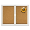 "Enclosed Cork Bulletin Board, Cork/Fiberboard, 48"" x 36"", Silver Aluminum Frame"