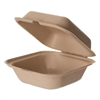Wheat Straw Hinged Clamshell Containers, 6 x 6 x 3, 400/Carton