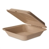 Wheat Straw Hinged Clamshell Containers, 9 x 9 x 3, 200/Carton