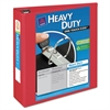 "Heavy-Duty View Binder w/Locking 1-Touch EZD Rings, 3"" Cap, Red"