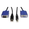 KVM Cable Kit, 6 ft, USB/HD15, Gray