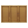 Enclosed Bulletin Board, Natural Cork/Fiberboard, 72 x 48, Oak Frame