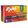 Ink Indicator Dry Erase Marker, Chisel Tip, Black, Dozen