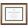 DAX Document/Certificate Frame w/Mat, Plastic, 11 x 14, 8 1/2 x 11, Mahogany/Gold