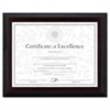DAX Stepped Award/Certificate Frame, 8 1/2 x 11, Black w/Walnut Trim