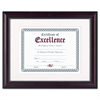 DAX Prestige Document Frame, Matted w/Cert, Rosewood/Black, 11 x 14, 8 1/2 x 11