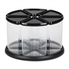 deflecto Six Canister Carousel Organizer, Plastic, 11 1/8 x 11 1/8, Black/Clear