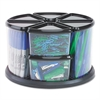 deflecto Nine Canister Carousel Organizer, Plastic, 11 1/8 x 11 1/8, Black/Clear