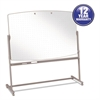 Total Erase Reversible Mobile Easel, 72 x 48, White Surface, Neutral Frame