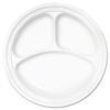"Famous Service Plastic Dinnerware, Plate, 3-Comp, 10 1/4"" dia, White, 500/Carton"