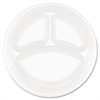 "Dart Concorde Foam Plate, 3-Comp, 9"" dia, White, 125/Pack, 4 Packs/Carton"