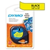 "DYMO LetraTag Plastic Label Tape Cassette, 1/2"" x 13ft, Yellow"