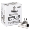"X-ACTO Bulldog Clips, Steel, 1"" Capacity, 3""w, Nickel-Plated, 12 per Box"