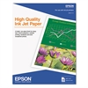 Epson High Quality Inkjet Paper, Matte, 8-1/2 x 11, 100 Sheets/Pack