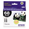 Epson T068120D2 (68) DURABrite Ultra High-Yield Ink, Black, 2/PK