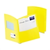 Oxford Contour Two-Pocket Recycled Paper Folder,  100-Sheet Capacity, Yellow