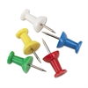 "GEM Plastic Head Push Pins, Plastic, Assorted, 3/8"", 100/Box"