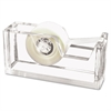 "Kantek Desktop Tape Dispenser, 1"" Core, Heavy Cast Acrylic, Clear"