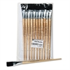 Charles Leonard Long Handle Easel Brush, Size 22, Natural Bristle, Flat, 12/Pack