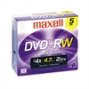 Maxell DVD+RW Discs, 4.7GB, 4x, w/Jewel Cases, Silver, 5/Pack