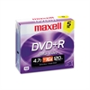 Maxell DVD+R Discs, 4.7GB, 16x, w/Jewel Cases, Silver, 5/Pack