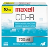 Maxell CD-R Discs, 700MB/80min, 48x, w/Slim Jewel Cases, Silver, 10/Pack