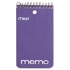 Memo Book, College Ruled, 3 x 5, Wirebound, Punched, 60 Sheets, Assorted