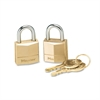 "Master Lock Three-Pin Brass Tumbler Locks, 3/4"" Wide, 2 Locks & 2 Keys, 2/Pack"