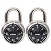 "Master Lock Combination Lock, Stainless Steel, 1 7/8"" Wide, Black Dial, 2/Pack"
