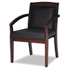 Mercado Series Wood Guest Chair, Mahogany/Black Leather