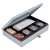 Heavy-Duty Steel Low-Profile Cash Box w/6 Compartments, Key Lock, Gray