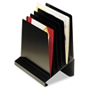Slanted Vertical Organizer, Six Sections, Steel, 11 x 7 1/4 x 11 1/2, Black