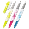 Flag + Highlighter/Pen, BE/PK/YW, White Graphic Barrel, 3/Pack