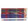 Decorated Wood Pencil, Happy Birthday, #2, BLK/BE/GN/PE/RD, Dozen