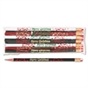 Moon Products Decorated Wd Pencil, Merry Christmas, #2, BLK/GN/RD/WE Brl, Dozen