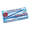 Paper Mate Write Bros Grip Ballpoint Stick Pen, Blue Ink, Fine, Dozen