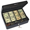 Company Securit Select Spacious Size Cash Box, 9-Compartment Tray, 2 Keys, Black w/Silver Handle